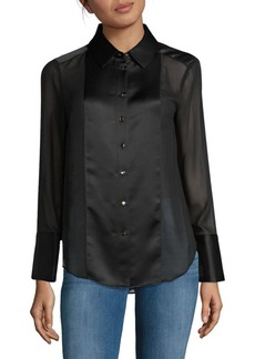 Calvin Klein Semi-Sheer Button-Down Shirt