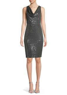 Calvin Klein Sequin-Embellished Cowlneck Sheath Dress