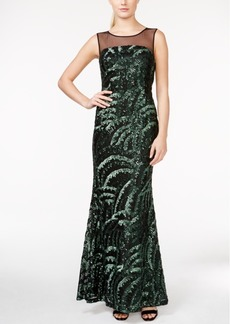 Calvin Klein Sequin Illusion-Yoke Gown