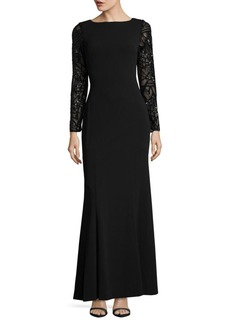 Sequin-Sleeve Trumpet Gown