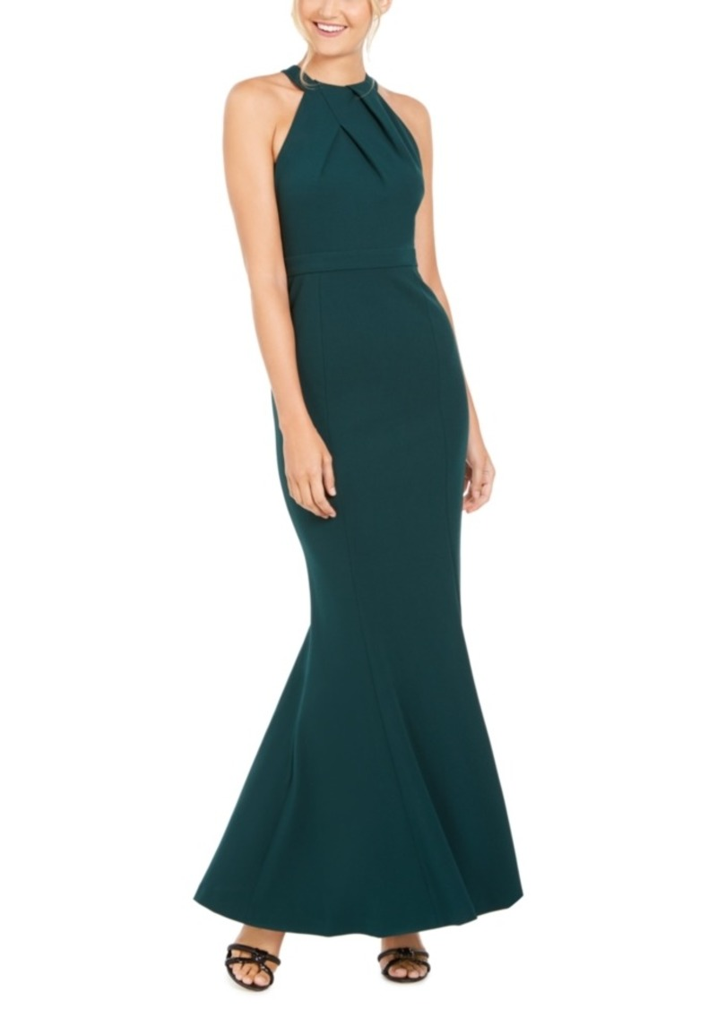 Calvin Klein Sequined-Back Halter Gown
