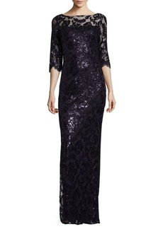Calvin Klein Sequined Column Gown