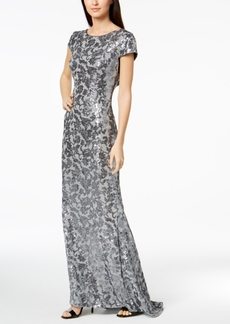 Calvin Klein Draped-Back Sequined Gown