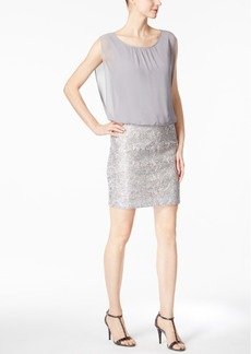 Calvin Klein Sequined Jacquard Blouson Dress