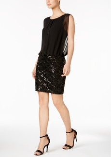 Calvin Klein Sequined Jacquard Blouson Dress