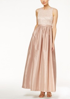 Calvin Klein Sequined Lace A-Line Gown