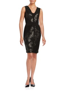 CALVIN KLEIN Sequined Lace-Accented Sheath Dress