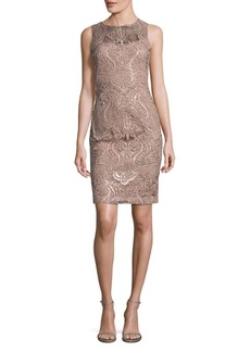 Sequined Lace Sheath Dress