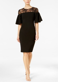 Calvin Klein Sequined Lace-Yoke Ruffle Dress