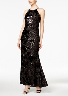 Calvin Klein Sequined Leaf Open-Back Gown