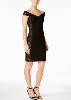 Calvin Klein Sequined Mesh Off-The-Shoulder Dress
