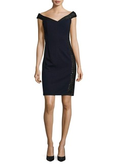 Calvin Klein Sequined Off-the-Shoulder Sheath Dress