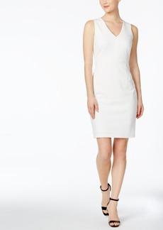 Calvin Klein Sheer Back V-Neck Sheath Dress