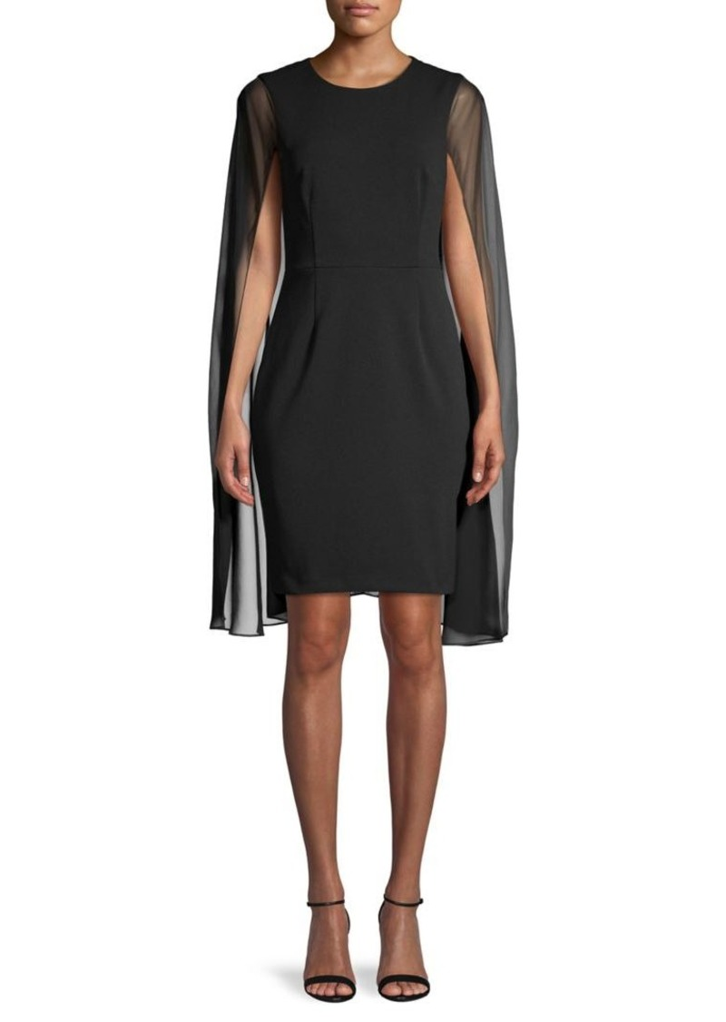 Calvin Klein Sheer Cape-Sleeve Dress