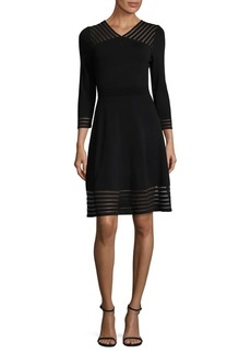 Calvin Klein Sheer Detail Fit-&-Flare Dress