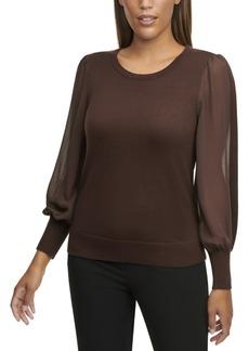 Calvin Klein Sheer-Sleeve Top