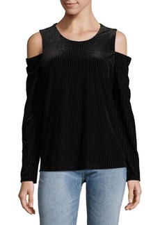 Calvin Klein Sheer Stripe Cold-Shoulder Top