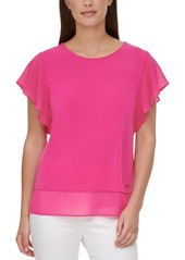 Calvin Klein Sheer-Trim Flutter-Sleeve Top