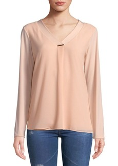 Sheer V-Neck Blouse