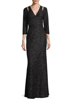 Calvin Klein Shimmering Cut-Out Gown
