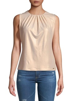 Calvin Klein Shimmering Pleated Top