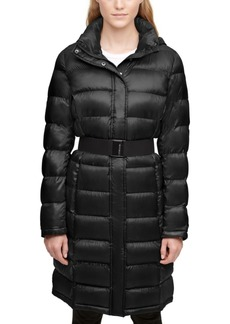 Calvin Klein Shine Hooded Belted Packable Down Puffer Coat
