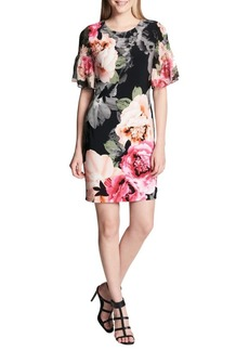 Shirred Floral Sheath Dress