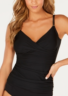 Calvin Klein Shirred Tummy-Control Tankini Top Women's Swimsuit