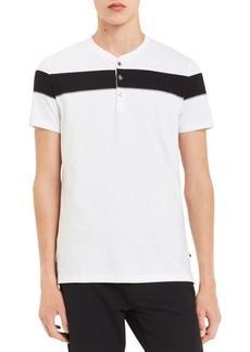 Calvin Klein Short-Sleeve Engineered Chest Stripe Cotton Henley