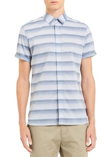 Calvin Klein Short-Sleeve French Placket Ombre Stripe Shirt