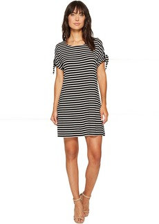 Short Sleeve Striped Dress with Tie Sleeve