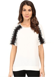 Short Sleeve Top w/ Lace Shoulder