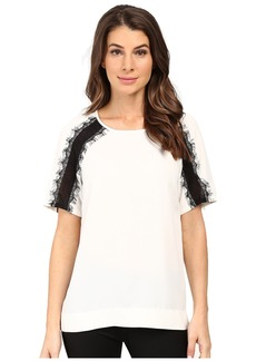 Calvin Klein Short Sleeve Top w/ Lace Shoulder