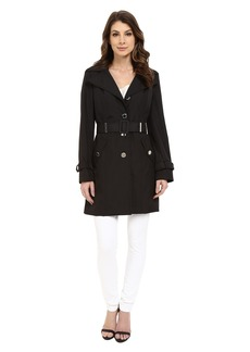 Calvin Klein Single Breasted Hooded Belted Trench w/ Printed Liner