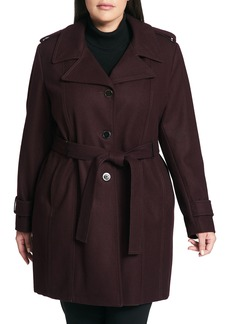 Calvin Klein Single Breasted Wool Blend Trench Coat (Plus Size)