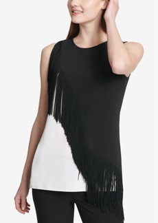 Calvin Klein Sleeveless Asymmetrical Fringe Top