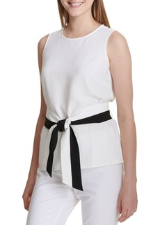 Calvin Klein Sleeveless Belted Blouse
