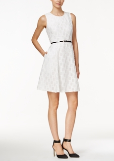 Calvin Klein Sleeveless Belted Fit & Flare Dress