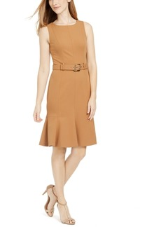Calvin Klein Petite Belted Flare-Hem Sheath Dress