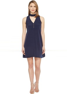 Calvin Klein Sleeveless Choker Dress with Button