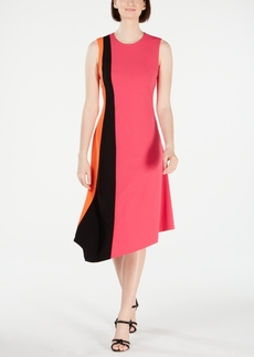 Calvin Klein Sleeveless Colorblock Asymmetric A-Line Dress