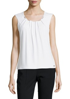 Calvin Klein Sleeveless Cotton-Blend Blouse