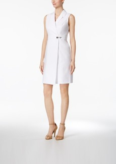 Calvin Klein Sleeveless Faux-Wrap Shirtdress