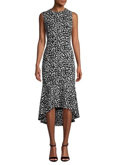 Calvin Klein Sleeveless Floral Hi-Lo Sheath Dress