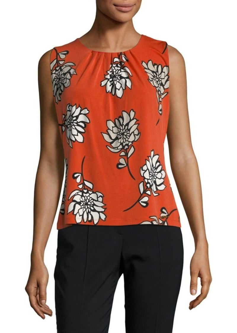 Calvin Klein Sleeveless Floral Pleated Blouse