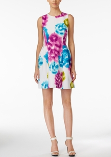 Calvin Klein Sleeveless Floral-Print Fit & Flare Dress