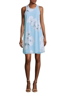 Calvin Klein Sleeveless Floral-Print Trapeze Dress