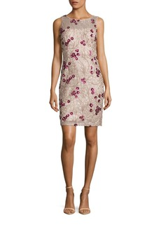 Calvin Klein Sleeveless Floral Sequined Dress