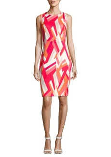 Calvin Klein Sleeveless Geometric-Print Sheath Dress