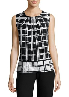 Calvin Klein Sleeveless Grid Print Blouse